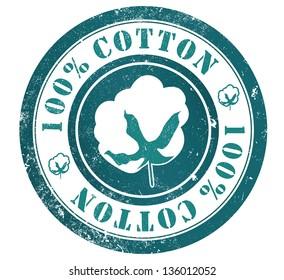 100% cotton grunge stamp, in english language