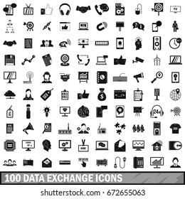 100 data exchange icons set in simple style for any design  illustration