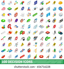 100 decision icons set in isometric 3d style for any design  illustration