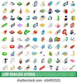 100 dialog icons set in isometric 3d style for any design  illustration