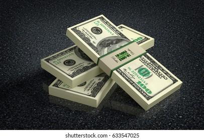 100 Dollar banknote bundles on marbled floor - 3D rendering
