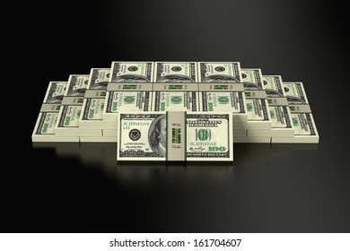 100 Dollar banknotes on glossy surface