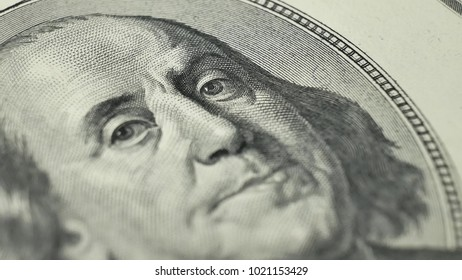 100 dollar bill with President Benjamin Franklin. The United States one hundred-dollar bill