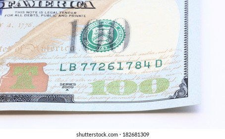 100 dollar bills isolated on white background closeup