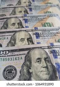 100 dollar bills, textured background