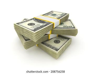 100 Dollar money packs isolated on white background.