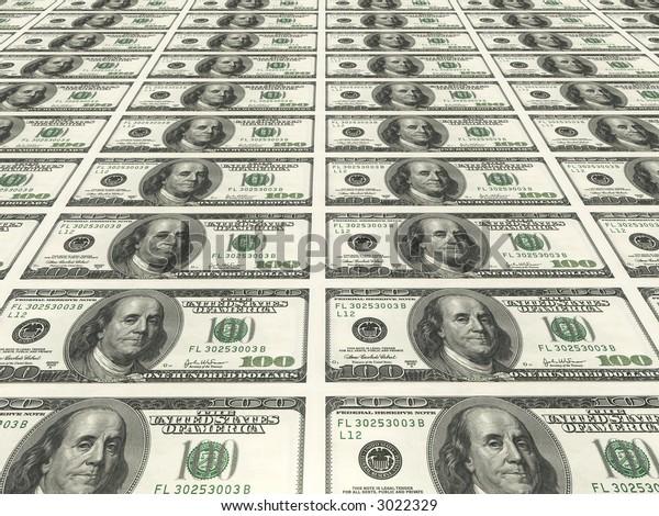 100 dollar notes printed on sheet.