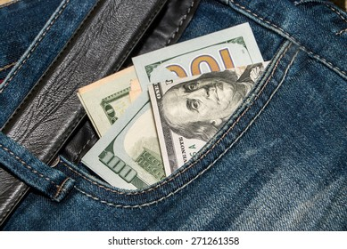 100 dollars banknote in the back jeans pocket