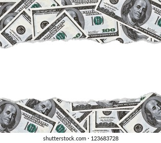 100 dollars banknotes background with blank space in middle