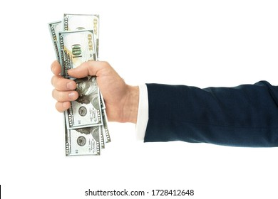 100 dollars in businessman hands. Hand with money, Hand holding Banknotes isolated in white background.