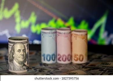 100 dollars macro shot. Turkish money lined up behind it (100 -200-50 TL) - Shutterstock ID 1827395756