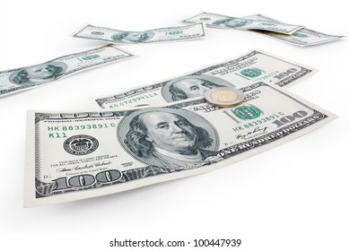 100 dollars and two euro on a white background