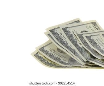 100 Dollars US. Isolated on White Background.