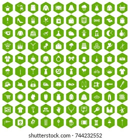 100 dress icons set in green hexagon isolated  illustration
