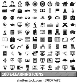 100 e-learning icons set in simple style for any design  illustration