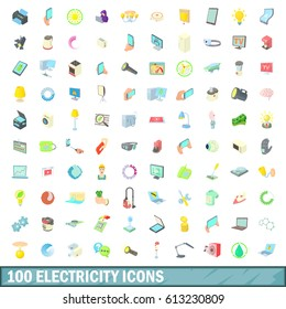 100 electricity icons set in cartoon style for any design  illustration