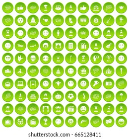 100 emotion icons set green circle isolated on white background  illustration