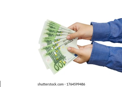 100 euro banknote in the hands of a business woman. Euro cash background on white, fan of 100 euros, one hundred euros.Copy of space.