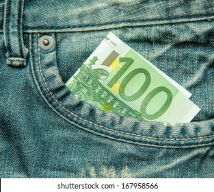 100 euro bill in the pocket of jeans