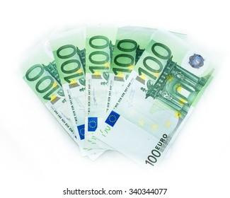 100 euro bills  euro banknotes money. European Union Currency