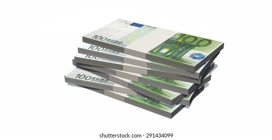 100 euro bills stacks isolated on white background