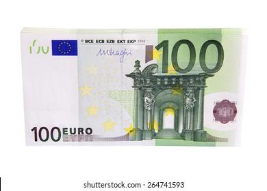 100 Euro money stack isolated on white background