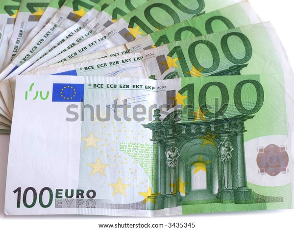 100 Euros spred out, isolated close up