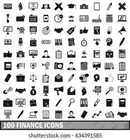 100 finance icons set in simple style for any design  illustration