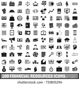 100 financial resources icons set in simple style for any design  illustration