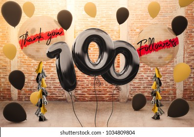 100 followers thank you with brilliant Balloons background. For your Celebration and Appreciation for social Network friends, Web user Thank you or celebrate of subscriber, follower, like