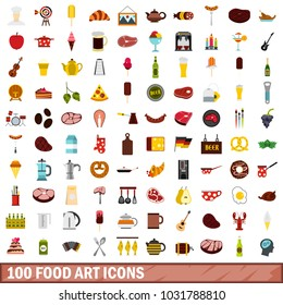 100 food art icons set in flat style for any design illustration