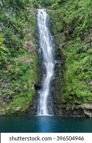 100 ft waterfall tucked away in the back of Halawa Valley on the island of Molokai