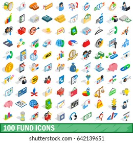 100 fund icons set in isometric 3d style for any design  illustration