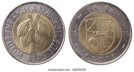 100 Ghana cedi (second cedi) coin, bi-metallic, 1999, both sides (face and back), isolated on white background.