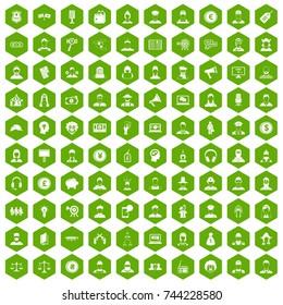 100 headhunter icons set in green hexagon isolated  illustration