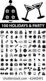 100 holidays & party signs. raster version