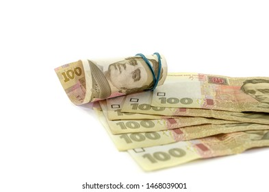 100 hryvnia banknotes on a white background