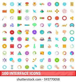 100 interface icons set in cartoon style for any design  illustration