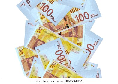 100 Israeli new shekels bills flying down isolated on white. Many banknotes falling with white copy space on left and right side