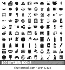 100 kitchen icons set in simple style for any design  illustration