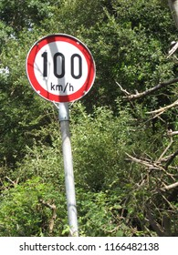 100 km/h limitation sign in a wild Finnish forest