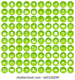 100 mail icons set green circle isolated on white background  illustration