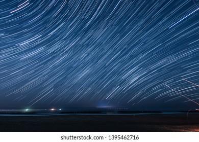 100 minutes star of the trajectory (Sendai Arahama Coast)