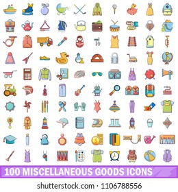 100 miscellaneous goods icons set. Cartoon illustration of 100 miscellaneous goods icons isolated on white background