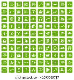 100 mobile icons set in grunge style green color isolated on white background illustration