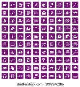 100 mobile icons set in grunge style purple color isolated on white background illustration