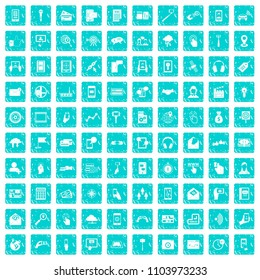 100 mobile icons set in grunge style blue color isolated on white background illustration