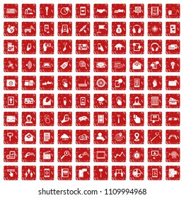 100 mobile icons set in grunge style red color isolated on white background illustration
