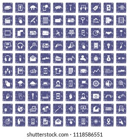 100 mobile icons set in grunge style sapphire color isolated on white background illustration