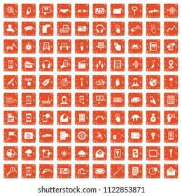 100 mobile icons set in grunge style orange color isolated on white background illustration